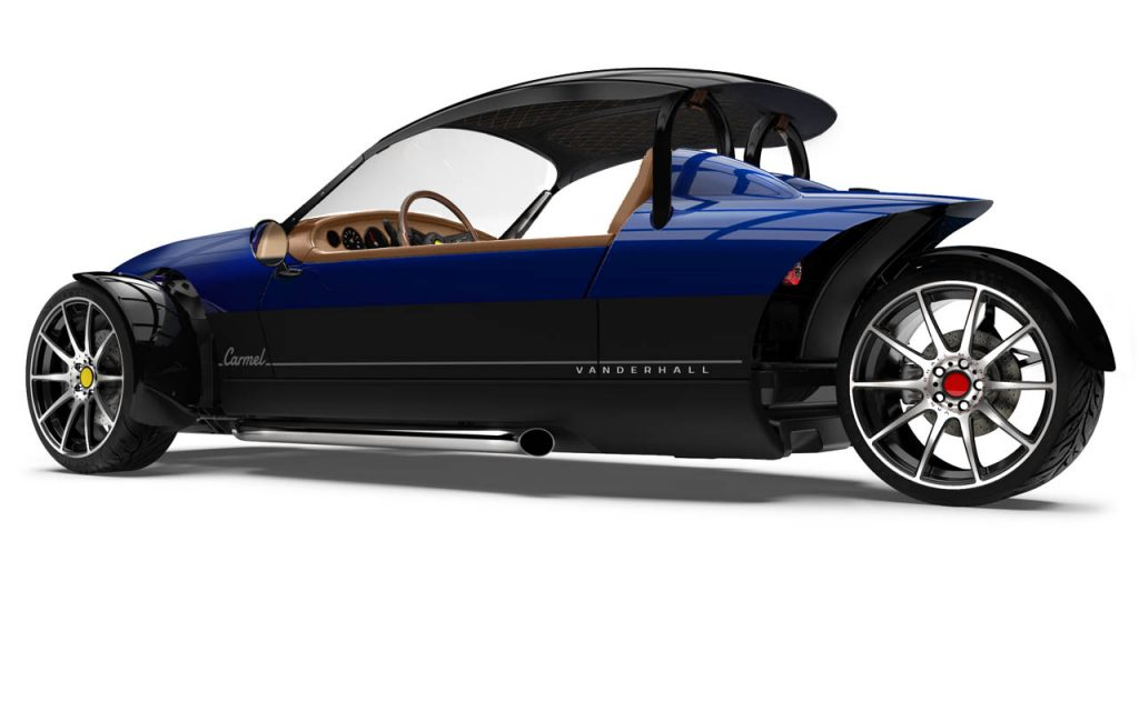 Side rear view of a Carmel GTS and Black Diamond Stiched capshade with Royal Blue exterior