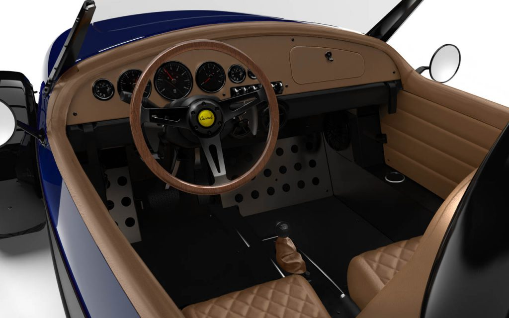 Interior of a Carmel GTS with Diamond Stitching in Royal Blue