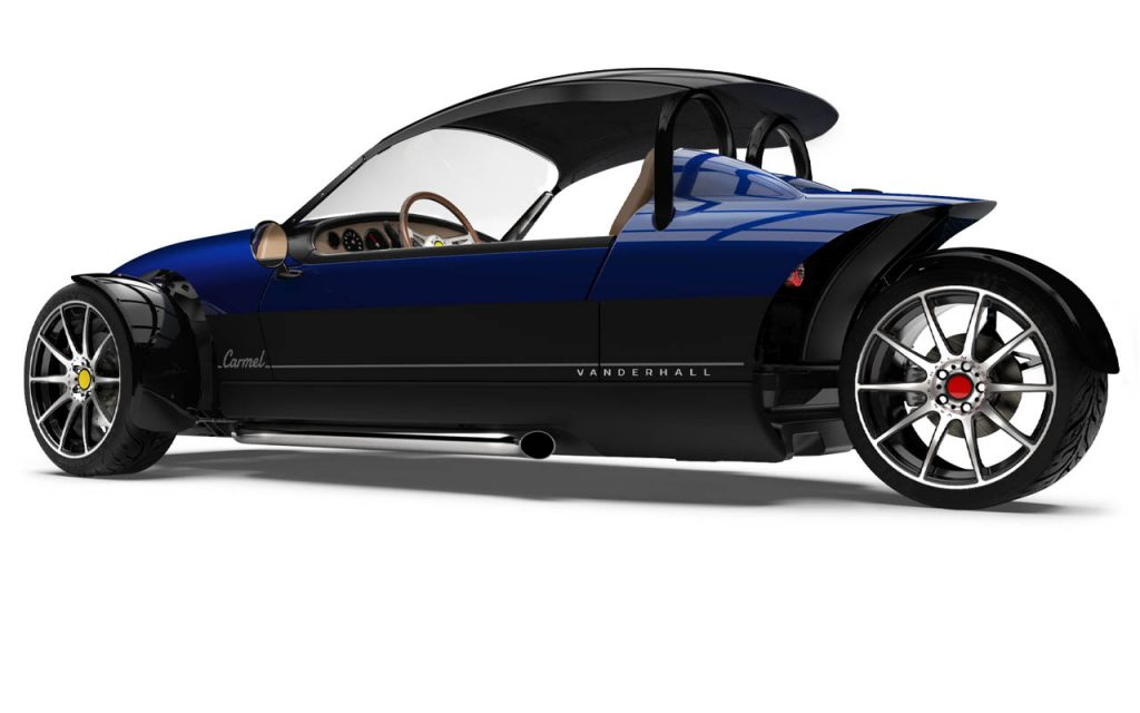 High Rear view of the Carmel with Black capshade in Royal Blue exterior