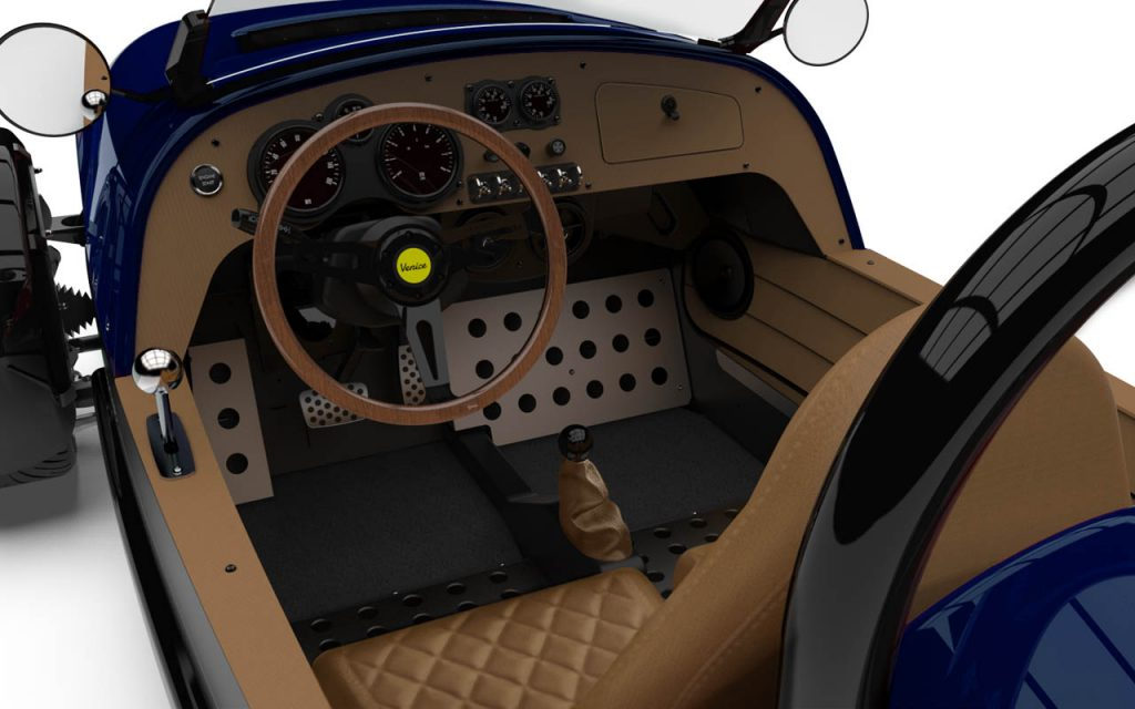 Interior of a Venice GTS with Diamond Stitching in Royal Blue Exterior